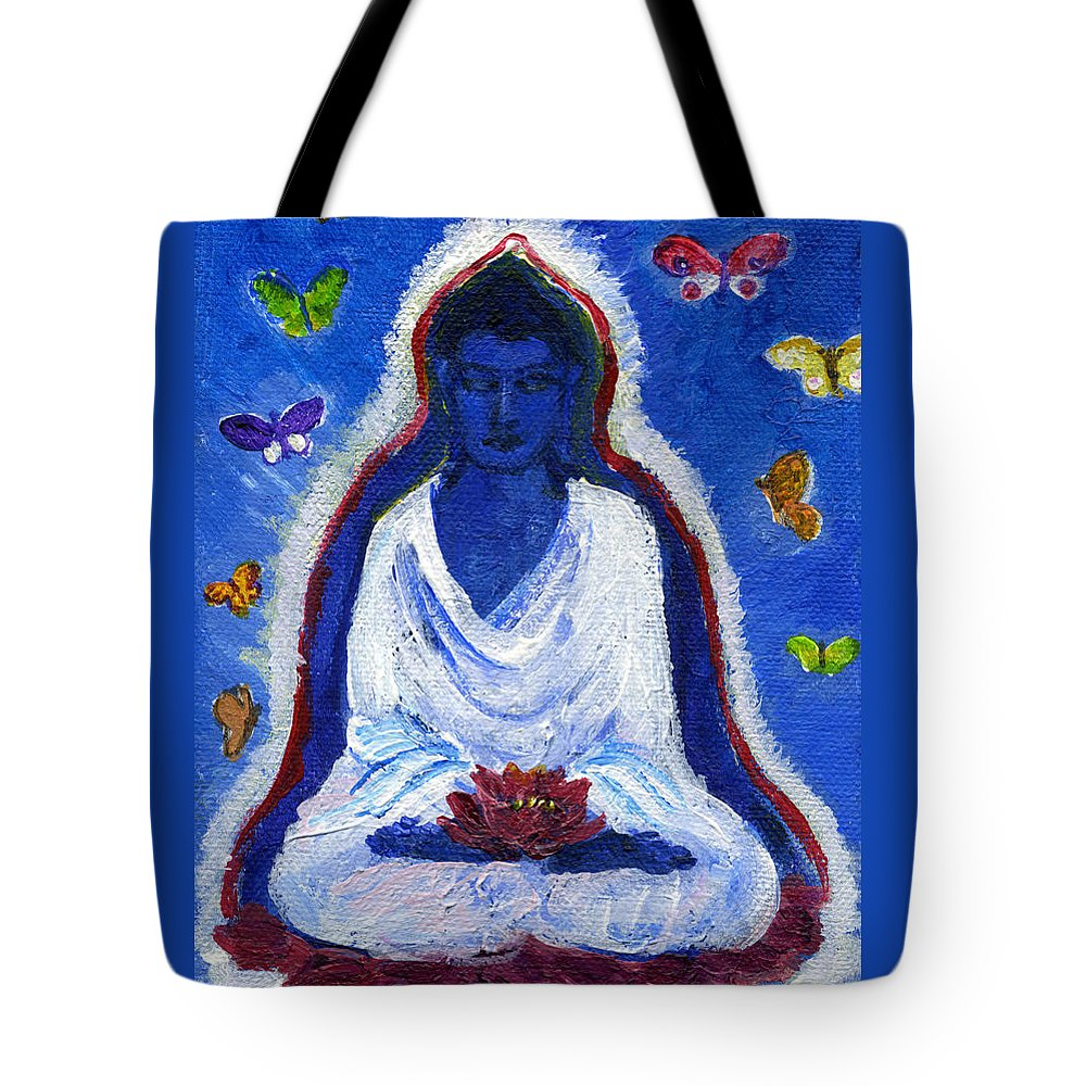 Buddha Tote Bag featuring the painting Butterflies Dream Of Buddha by Wendy Le Ber