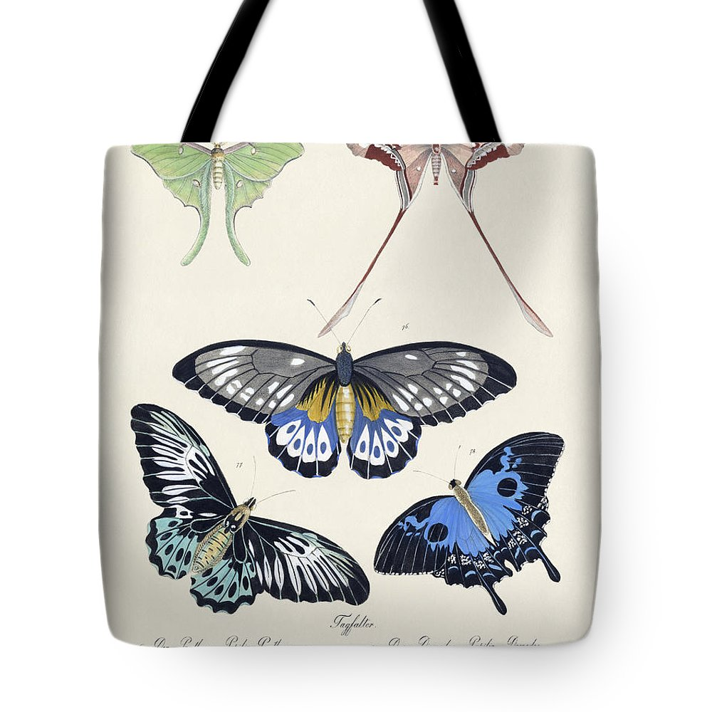 Der Panthous Tote Bag featuring the drawing Butterflies I by Splendid Art Prints