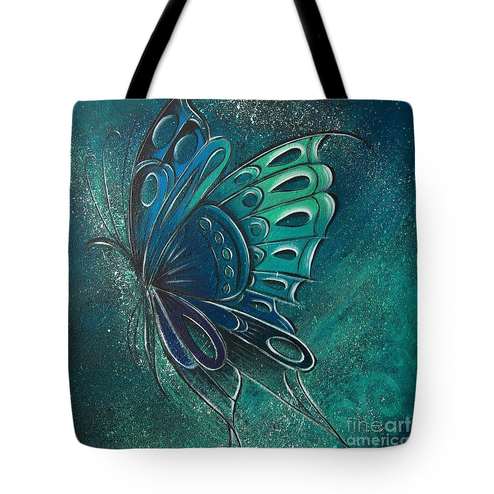 Reina Tote Bag featuring the painting Butterfly 2 by Reina Cottier