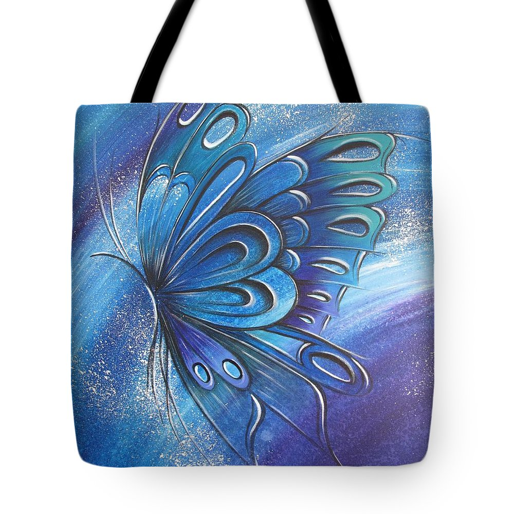Reina Tote Bag featuring the painting Butterfly 4 by Reina Cottier