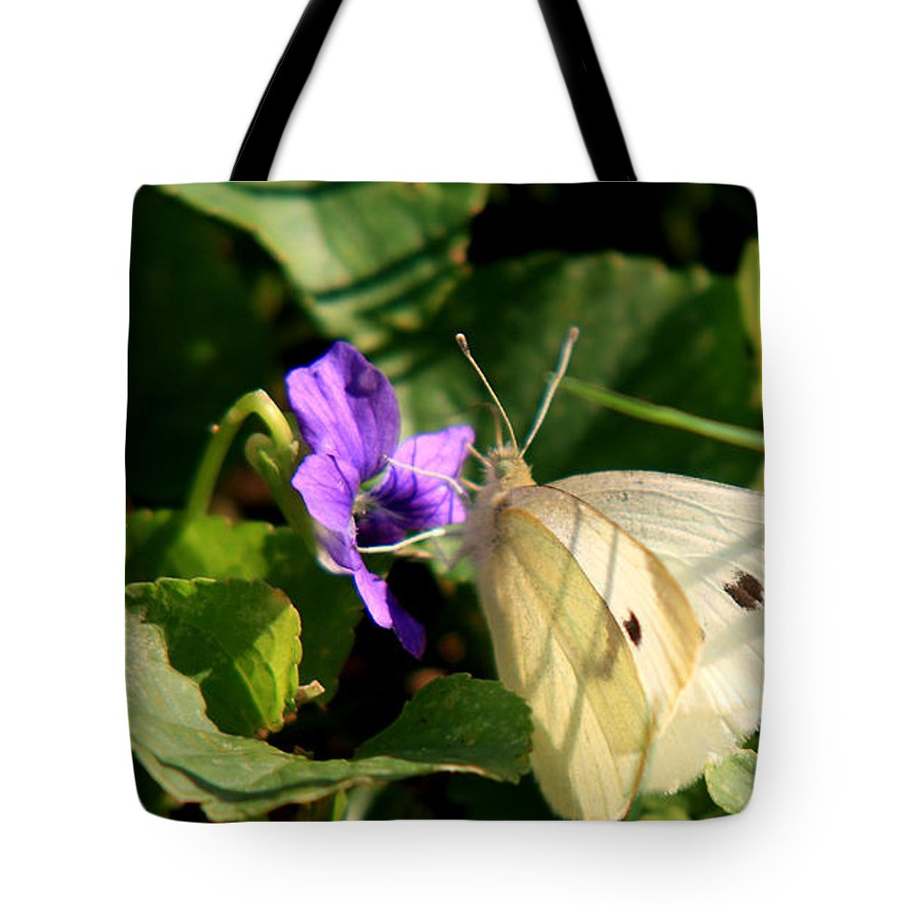 Butterfly Tote Bag featuring the photograph Butterfly At Flower by David Dufresne