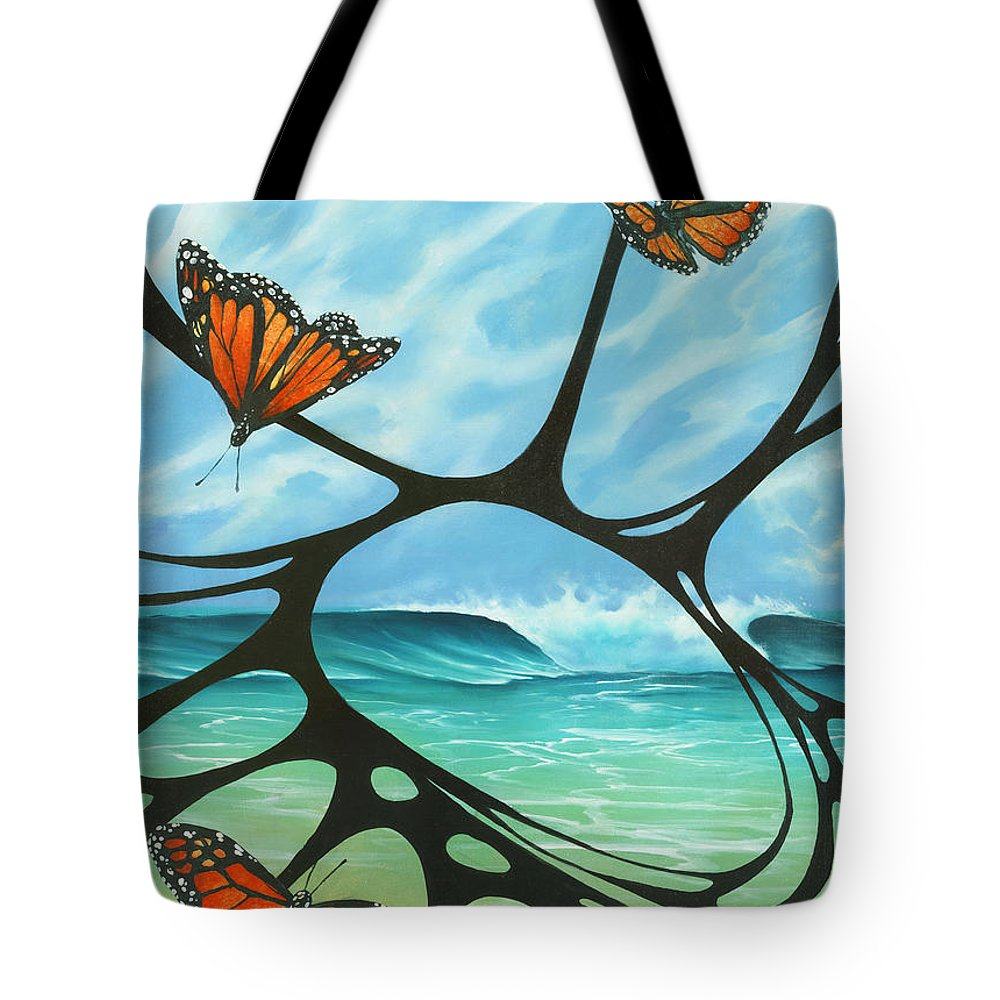 Fine Art Tote Bag featuring the painting Butterfly Beach by Harry Holiday