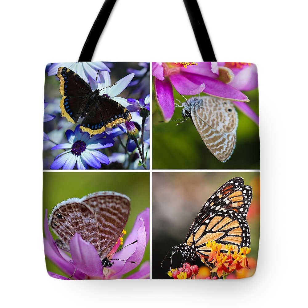 Animal Tote Bag featuring the photograph Butterfly Collage by Heidi Smith
