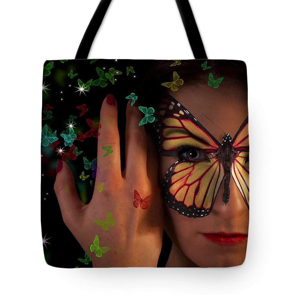Female Tote Bag featuring the digital art Butterfly Girl by Nathan Wright