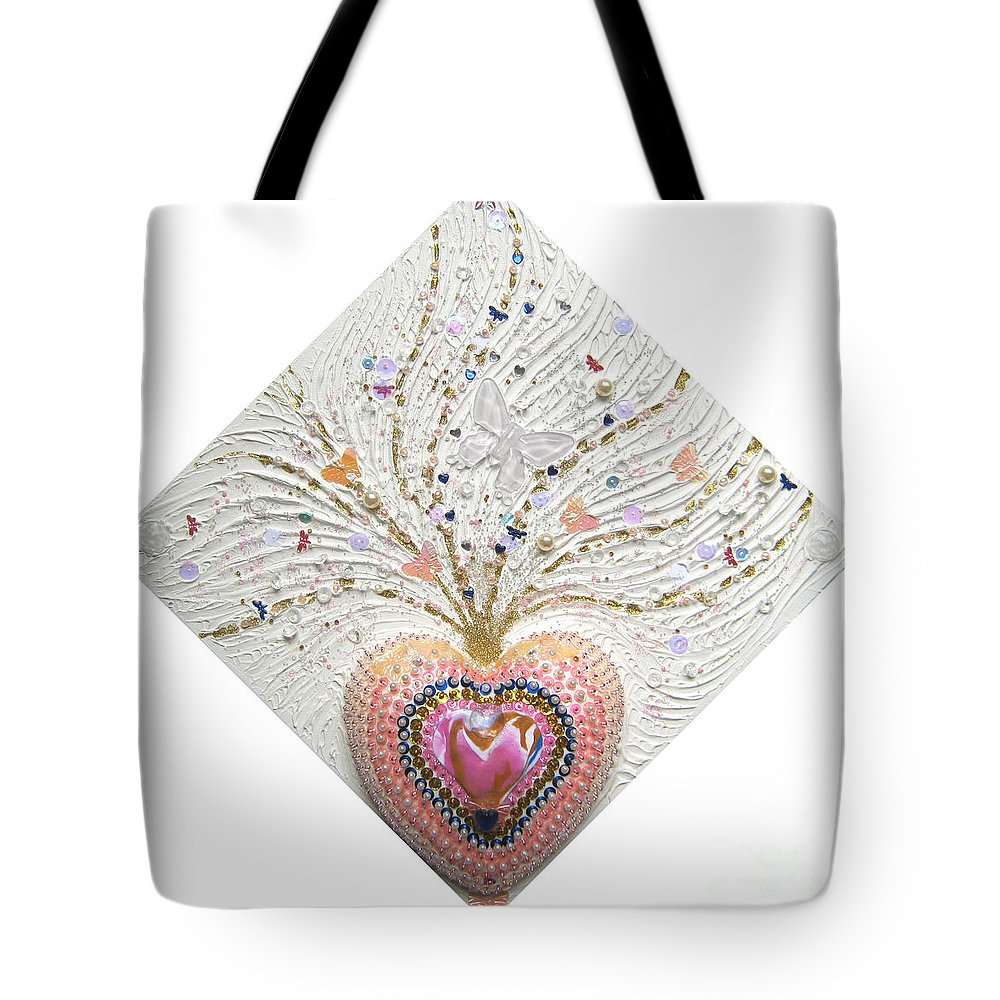 Butterfly Heart Tote Bag featuring the relief Butterfly-heart by Heidi Sieber