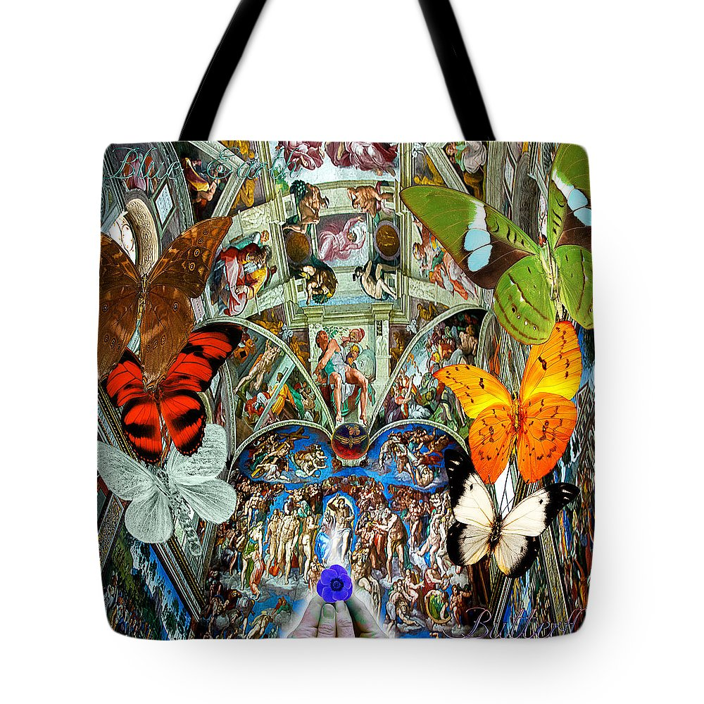 Italy Tote Bag featuring the digital art Butterfly In Cappella Sistina Sistinechapel by Joseph Mosley