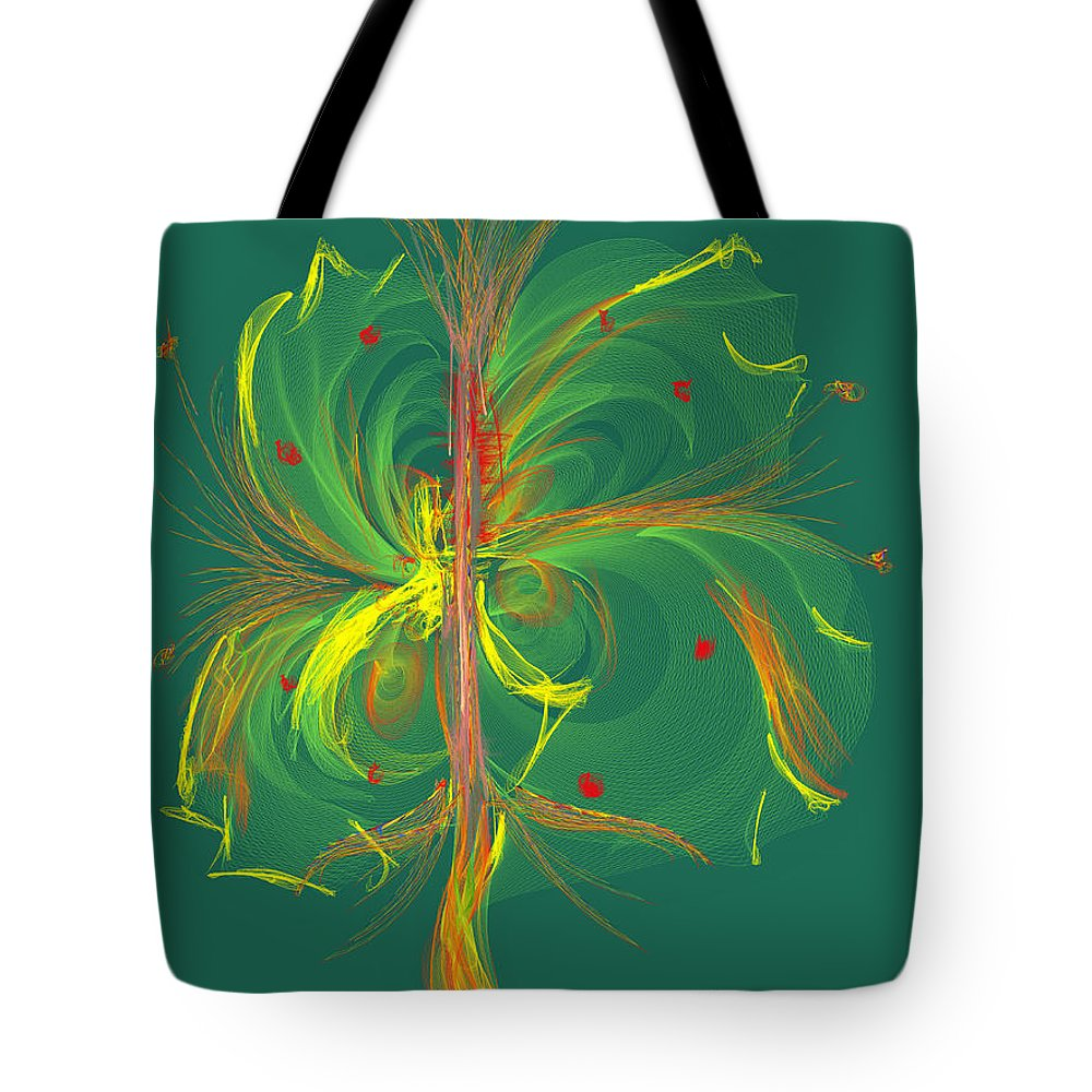 Ipad Tote Bag featuring the painting Butterfly In Green by Angela Stanton