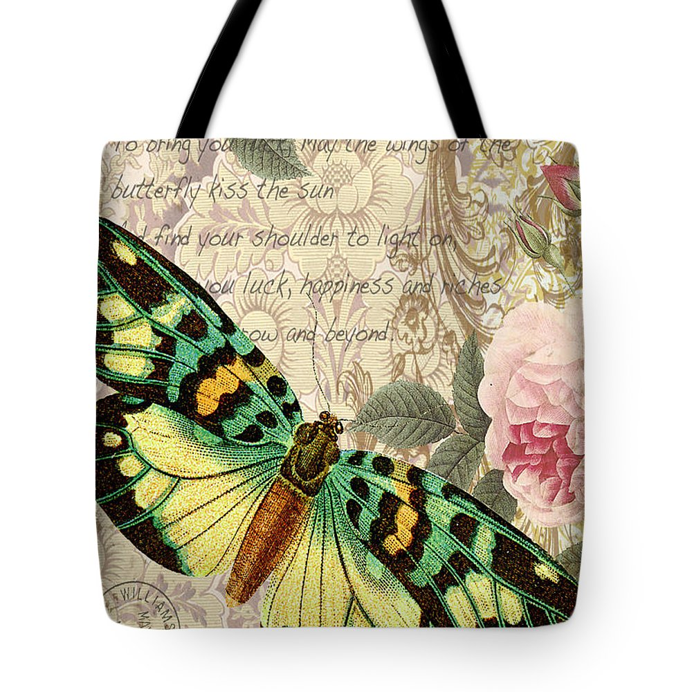 Butterfly Tote Bag featuring the digital art Butterfly Kisses-b by Jean Plout
