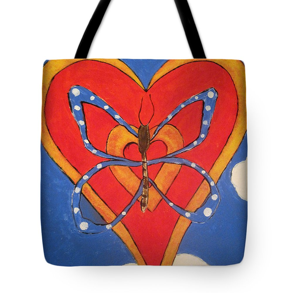 Heart Tote Bag featuring the painting Butterfly Love by Jessica Rosen