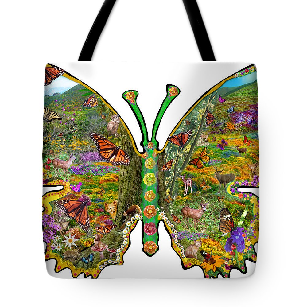 Abstract Tote Bag featuring the digital art Butterfly Meadow Green by Alixandra Mullins