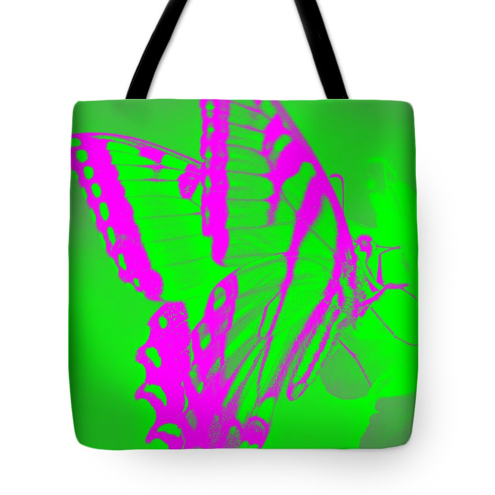 Butterfly Tote Bag featuring the photograph Butterfly Ode To Andy Warhol by Jean Wright