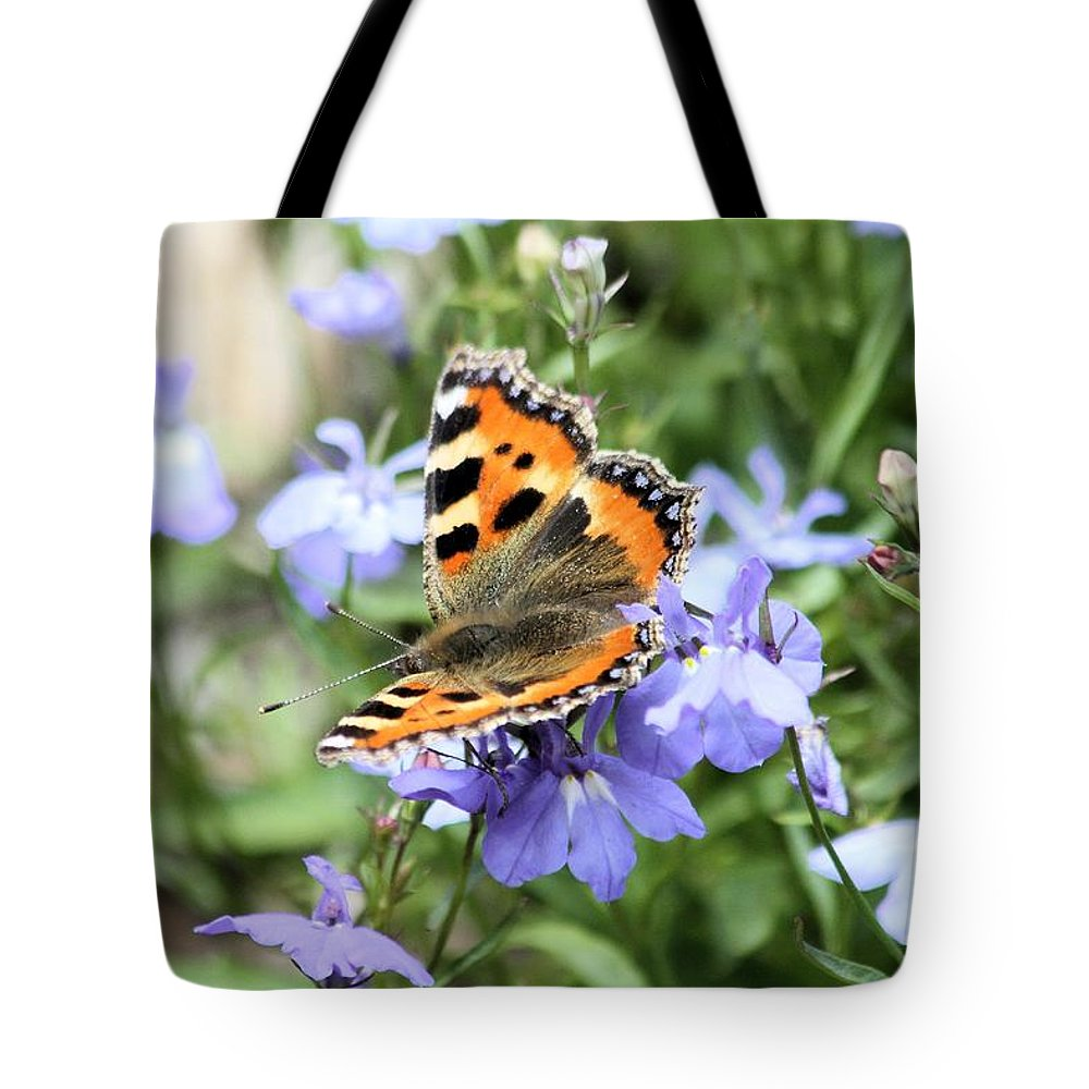 Butterfly Tote Bag featuring the photograph Butterfly On Blue Flower by Gordon Auld