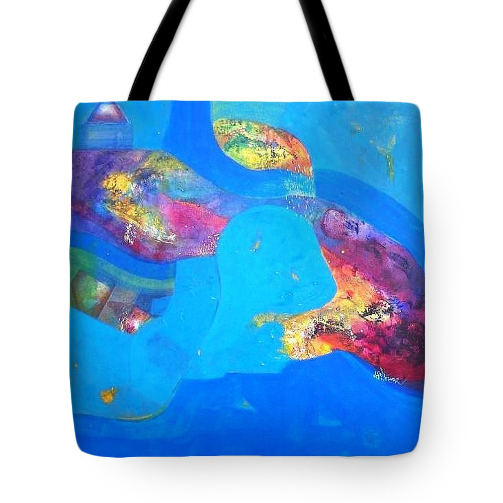 Tote Bag featuring the painting buyer alejendra USA by Sanjay Punekar