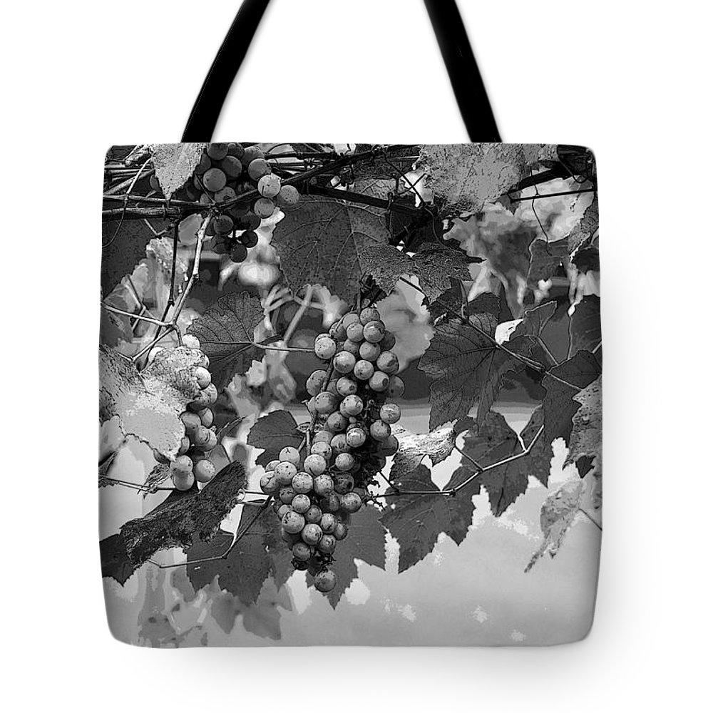 Horizontal Tote Bag featuring the photograph Bw Hanging Thompson Grapes Sultana Poster Look by Sally Rockefeller