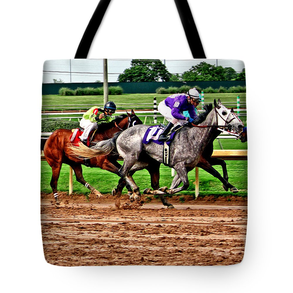 Horse Racing Tote Bag featuring the photograph By A Nose 025mx by Earl Johnson