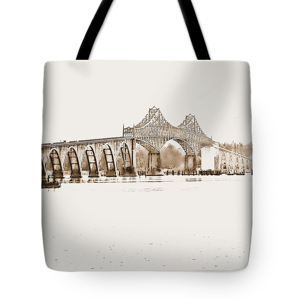 Black Tote Bag featuring the photograph By The Bridge by Kathy Sampson