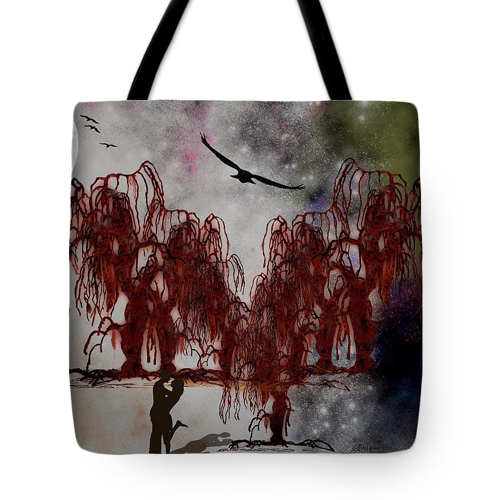 Trees Tote Bag featuring the digital art By The Light Of The Silvery Moon by Ericamaxine Price