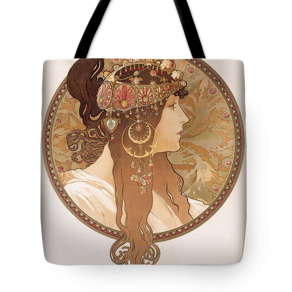 Mucha Tote Bag featuring the painting Byzantine Head Of A Brunette by Alphonse Marie Mucha
