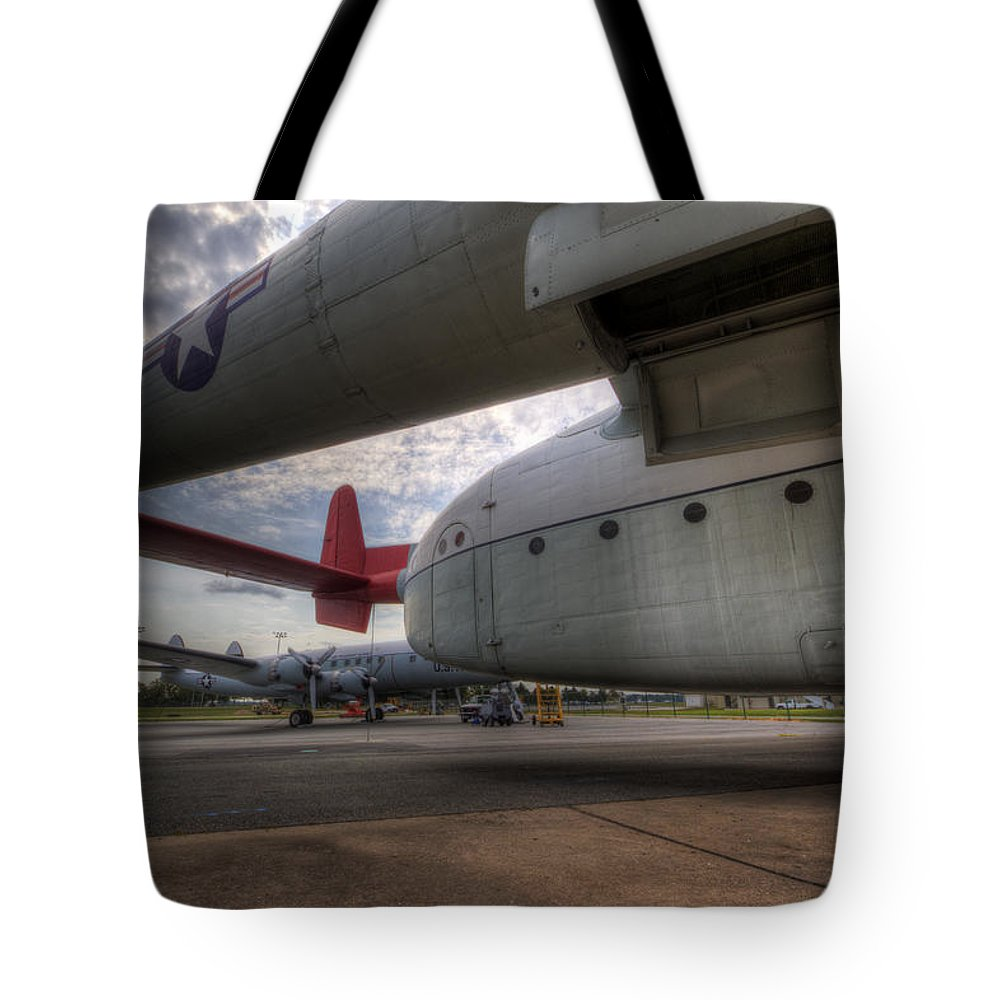 Fairchild Tote Bag featuring the photograph C-119 Flying Boxcar by David Dufresne