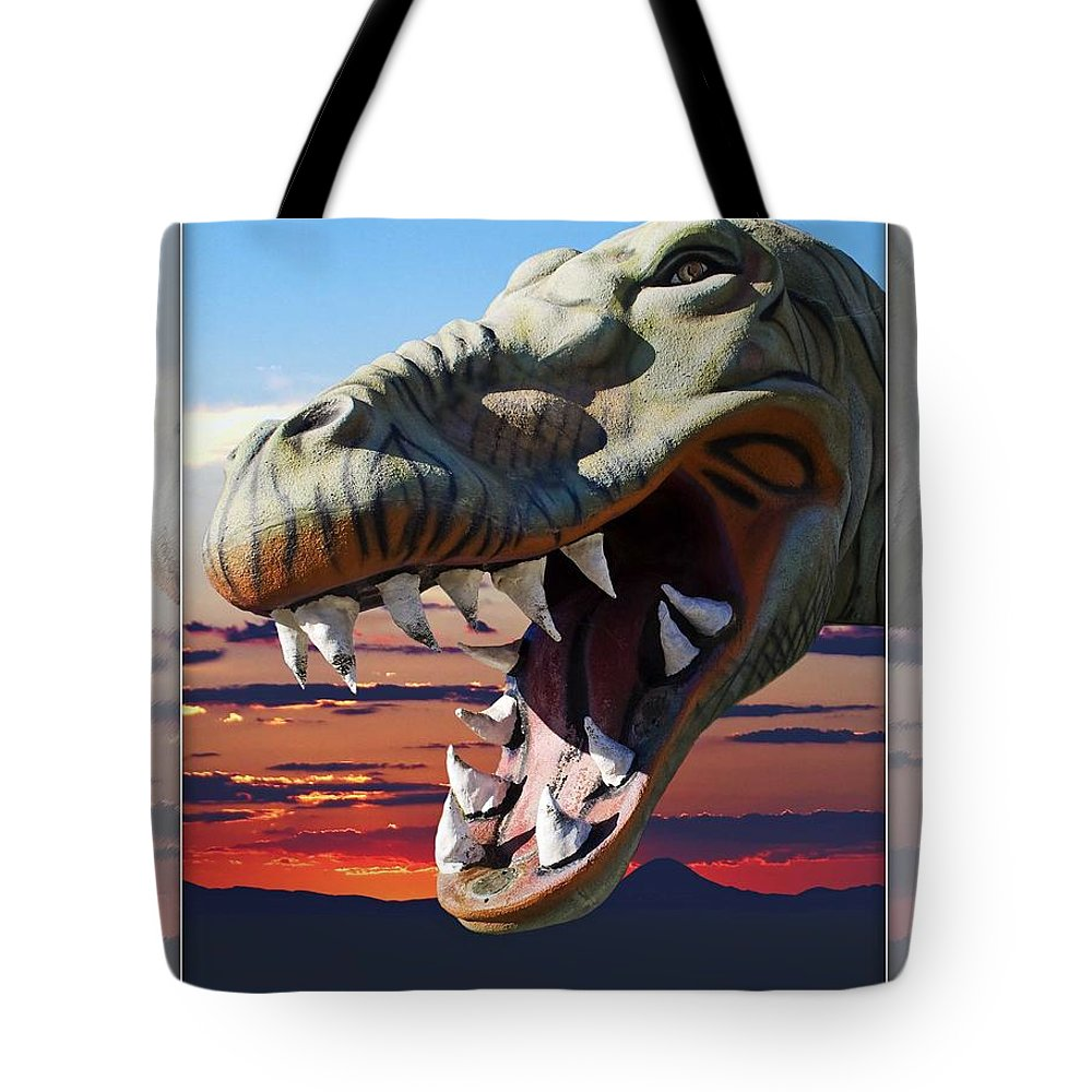 Cabazon Tote Bag featuring the photograph Cabazon Dinosaur by Walter Herrit