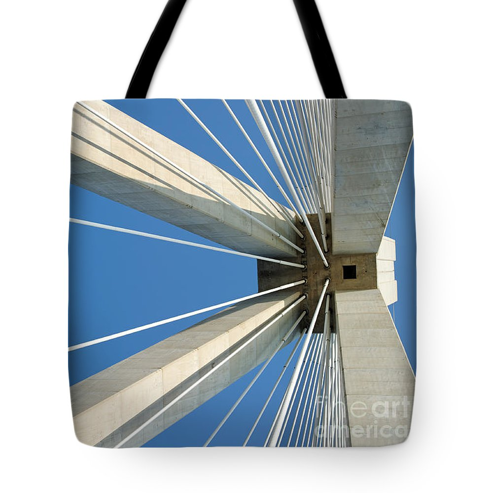 Bridge Tote Bag featuring the photograph Cable Bridge Abstract by Grigorios Moraitis