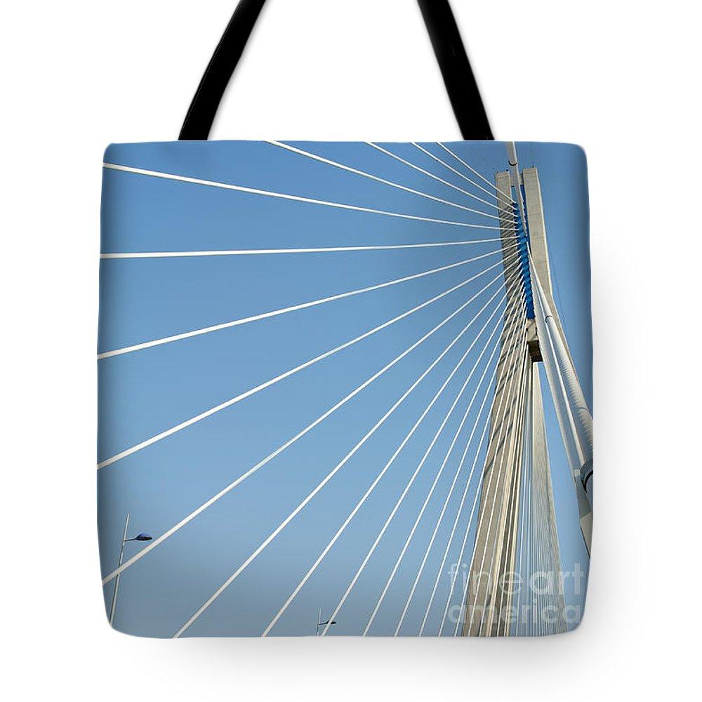Bridge Tote Bag featuring the photograph Cable Bridge Detail by Grigorios Moraitis