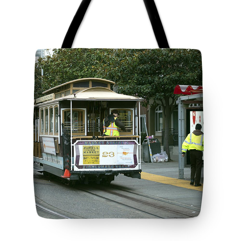 Photograph Tote Bag featuring the photograph Cable Car At Fisherman's Wharf by Christopher Winkler