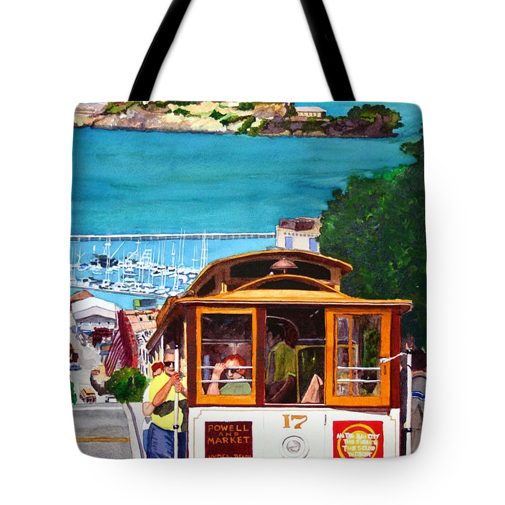 San Francisco Tote Bag featuring the painting Cable Car No. 17 by Mike Robles