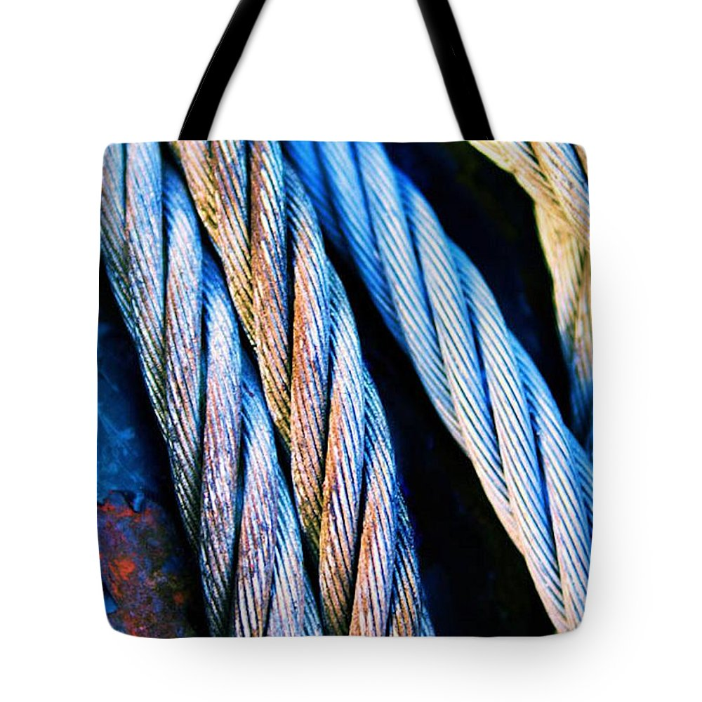 Abstract Tote Bag featuring the photograph Cable Colour by Brian Raggatt