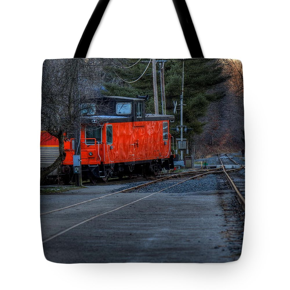 Railroad Tote Bag featuring the photograph Caboose by David Dufresne
