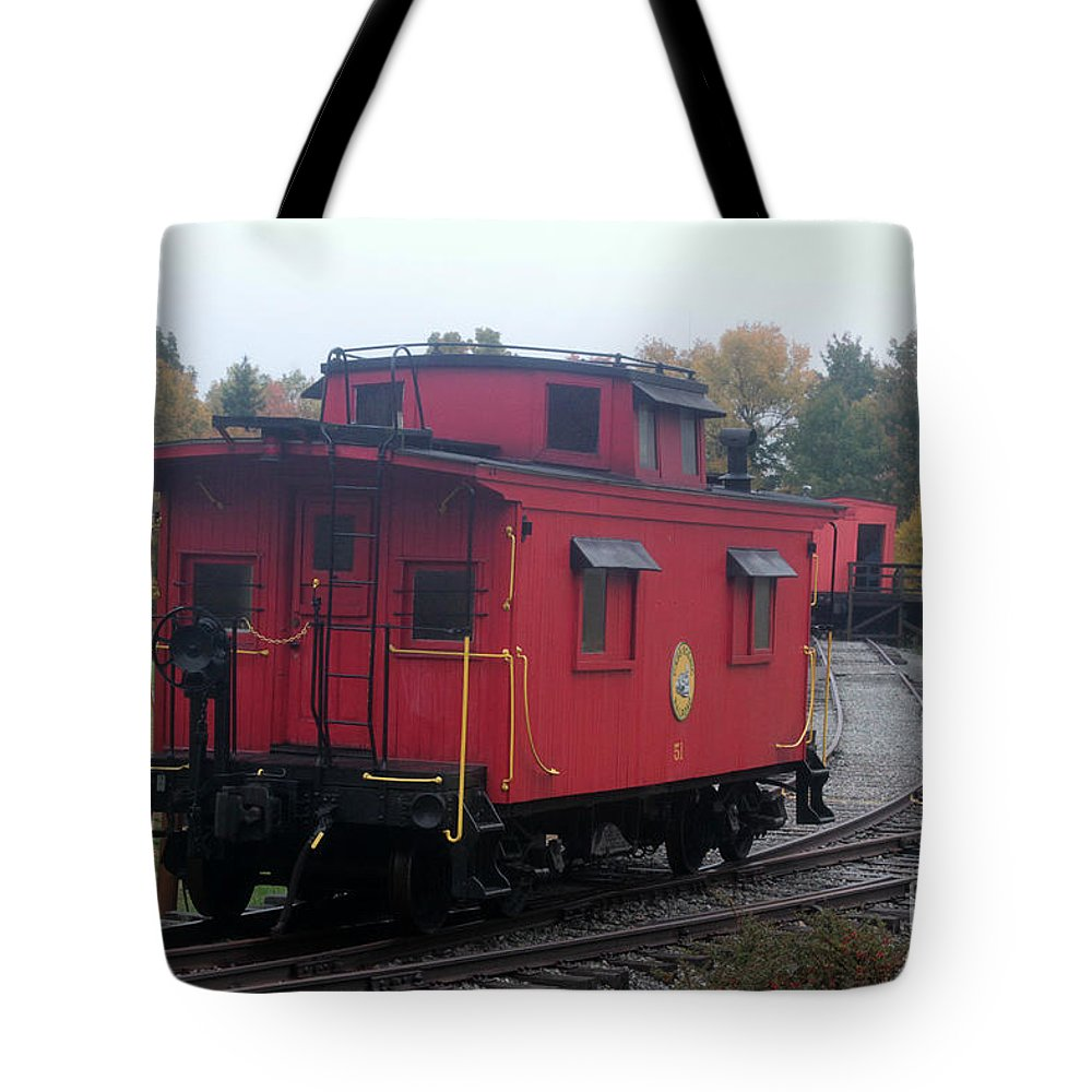 Caboose Tote Bag featuring the photograph Caboose On The Tracts by Dwight Cook