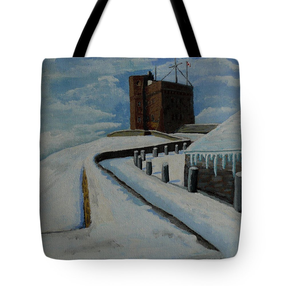 Landscape Tote Bag featuring the painting Cabot Tower Newfoundland by Anthony Dunphy