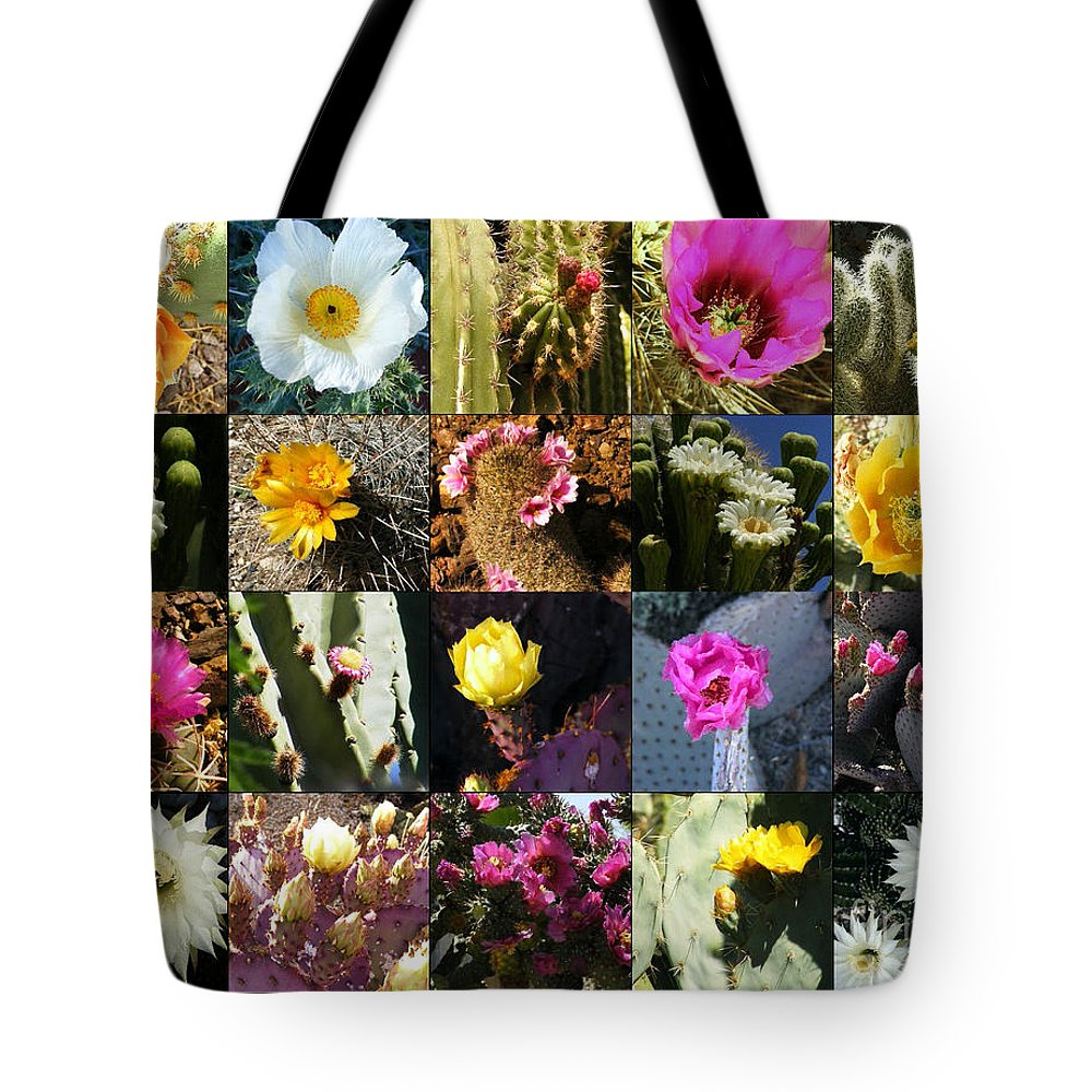 Flowers Tote Bag featuring the photograph Cactus Collage by Marilyn Smith