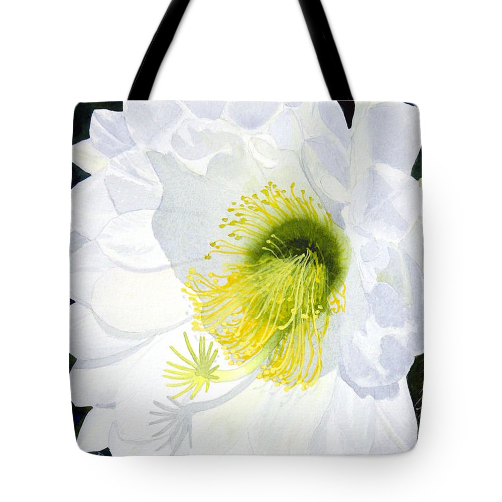 Flower Tote Bag featuring the painting Cactus Flower II by Mike Robles