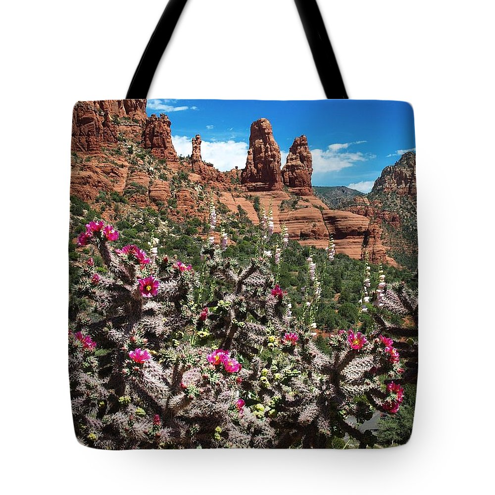 Arizona Tote Bag featuring the photograph Cactus Flowers And Red Rocks by Steve Ondrus