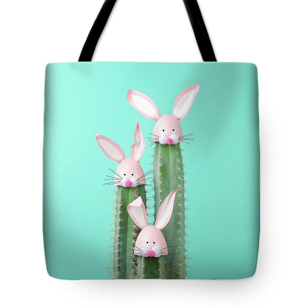 Easter Bunny Tote Bag featuring the photograph Cactus With Easter Rabbit Decorations by Juj Winn