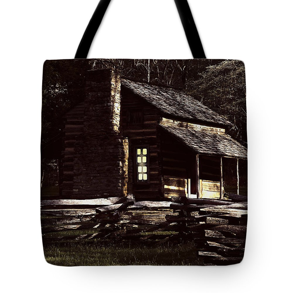 Cades Cove Tote Bag featuring the digital art Cades Cove Reflections by TnBackroadsPhotos