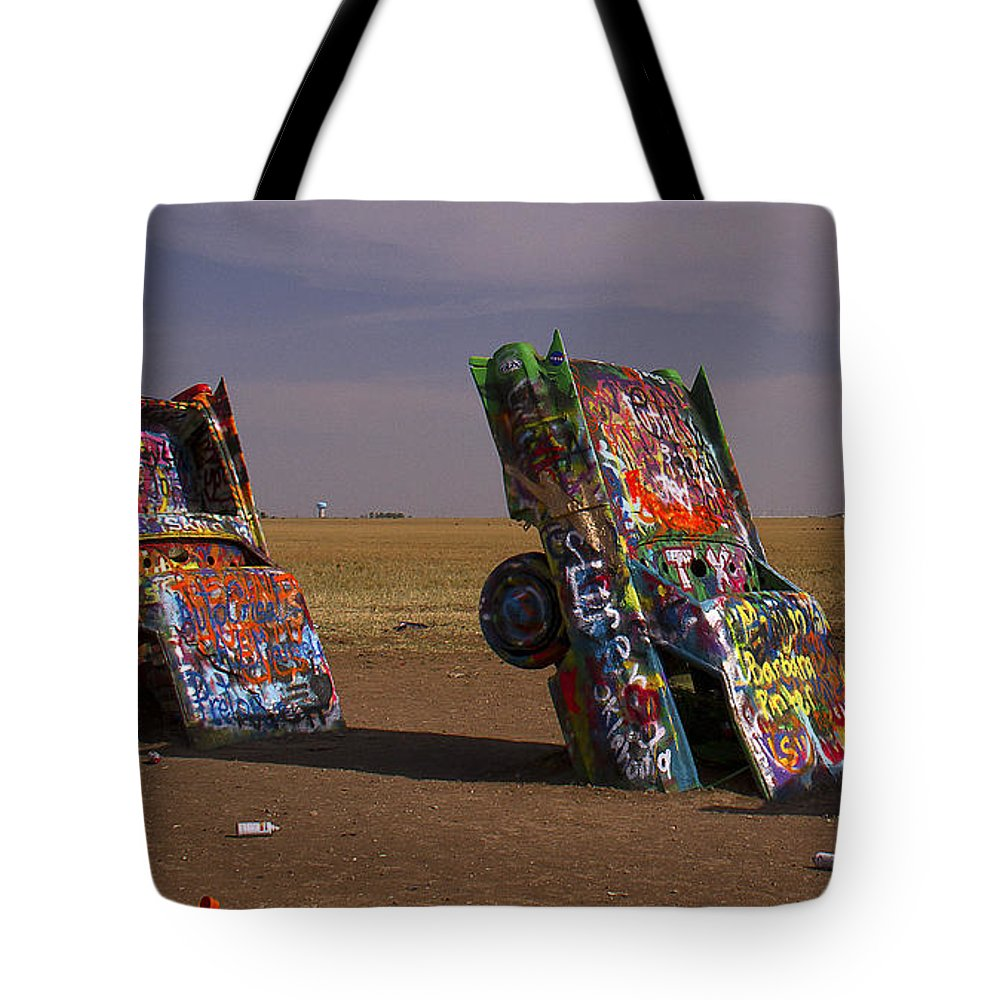 Cadillac Ranch Tote Bag featuring the photograph Cadillac Art by Debby Richards