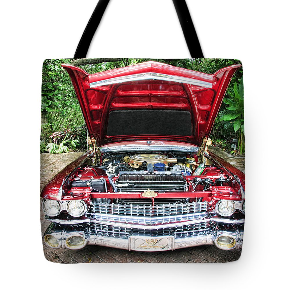 1959 Tote Bag featuring the photograph Cadillac Engine by Rudy Umans