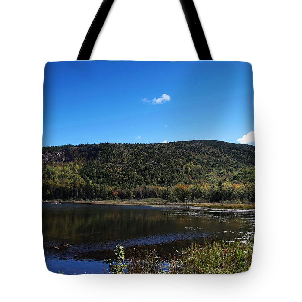 Cadillac Tote Bag featuring the photograph Cadillac Mountain And Lake In Acadia National Park by Paul Ge