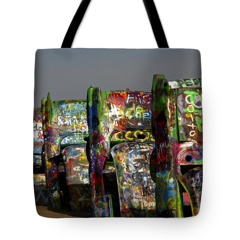 Cadillac Ranch Tote Bag featuring the photograph Cadillac Ranch by Debby Richards