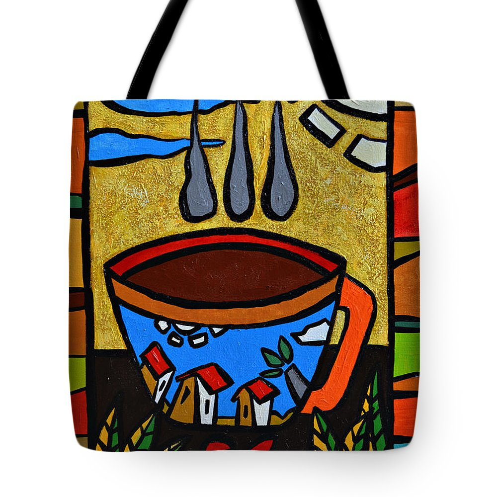Red Tote Bag featuring the painting Cafe Criollo by Oscar Ortiz