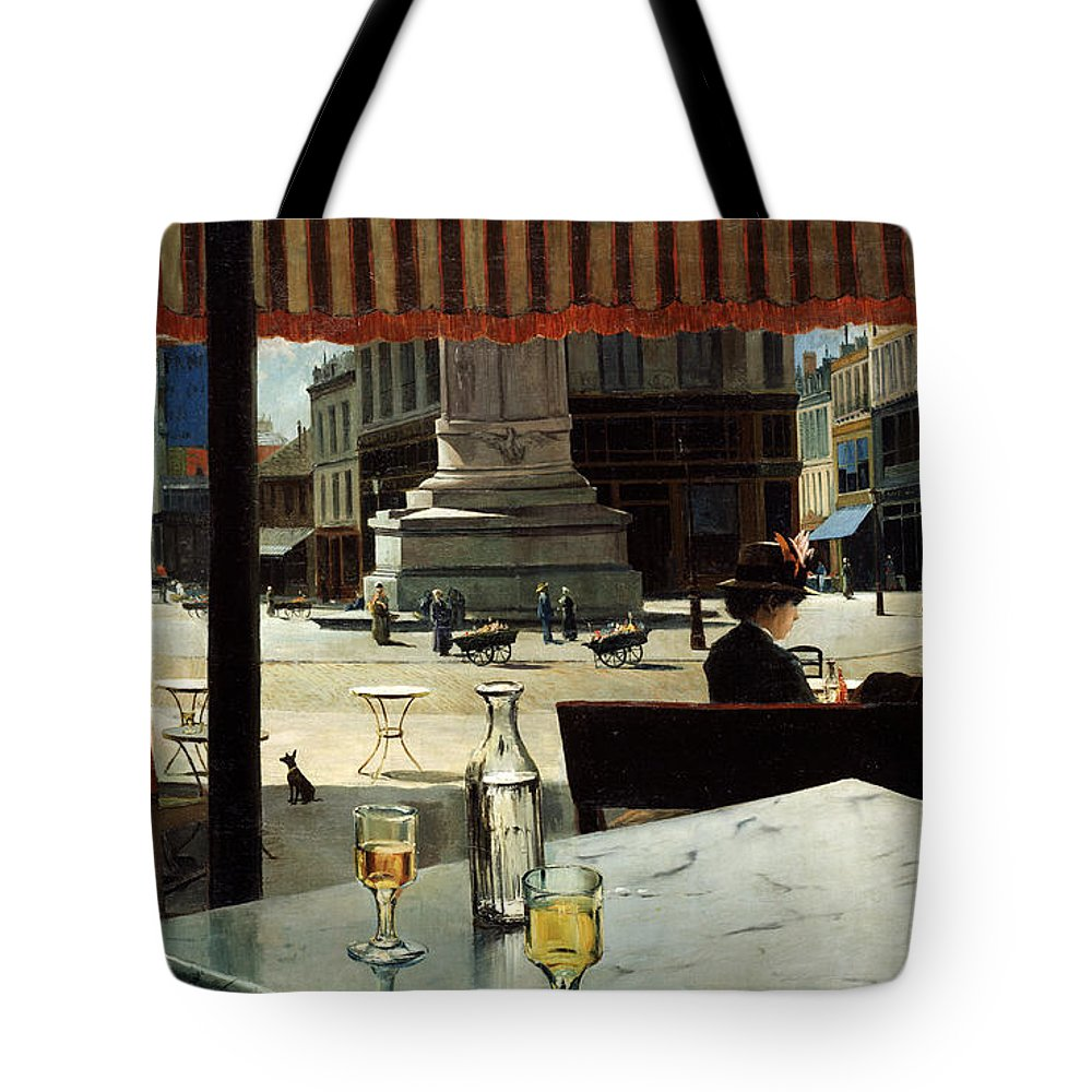 Elisio Tote Bag featuring the painting Cafe In A City Square by Eliseo Meifren y Roig