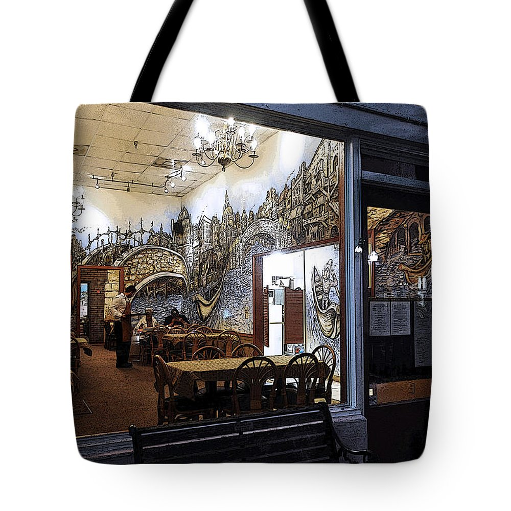 Restaurant Tote Bag featuring the photograph Cafe Italiano Night Usa by Sally Rockefeller