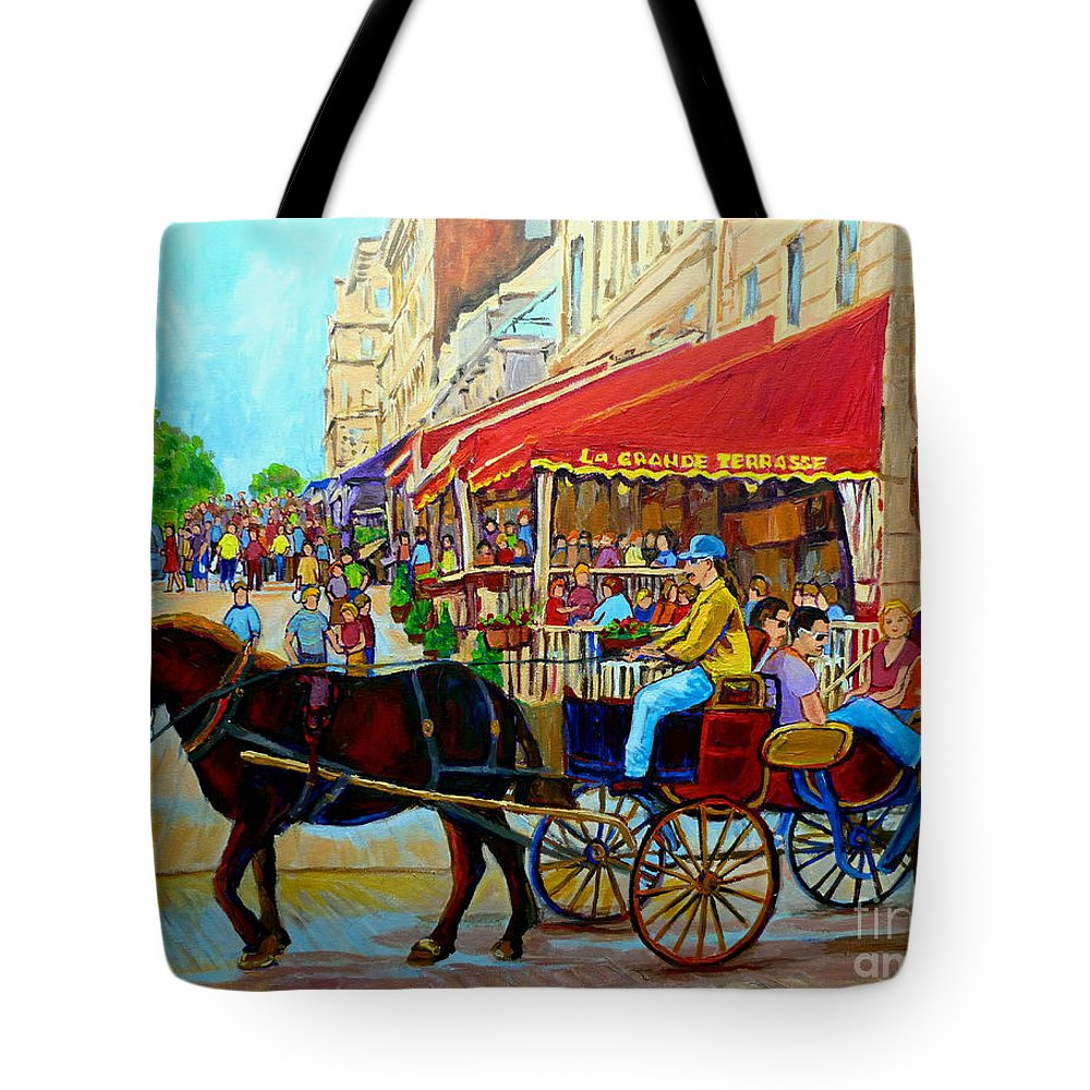 Cafe La Grande Terrasse Tote Bag featuring the painting Cafe La Grande Terrasse by Carole Spandau