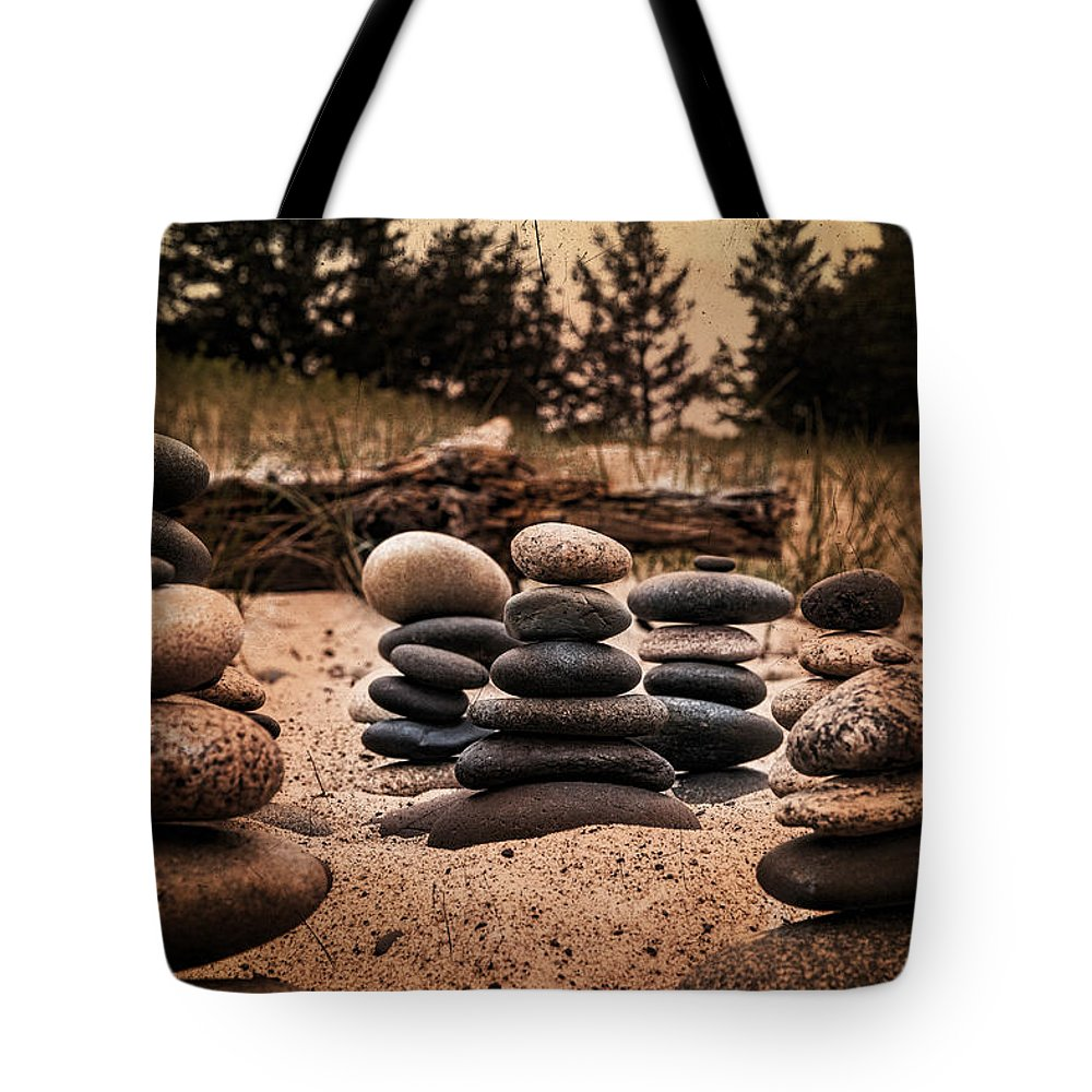 Rock Tote Bag featuring the photograph Cairn Whitefish Point Michigan by Evie Carrier