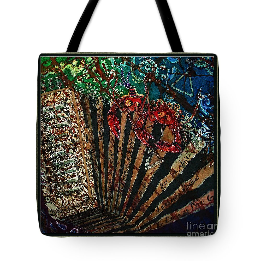 Acadian Tote Bag featuring the painting Cajun Accordian - Bordered by Sue Duda
