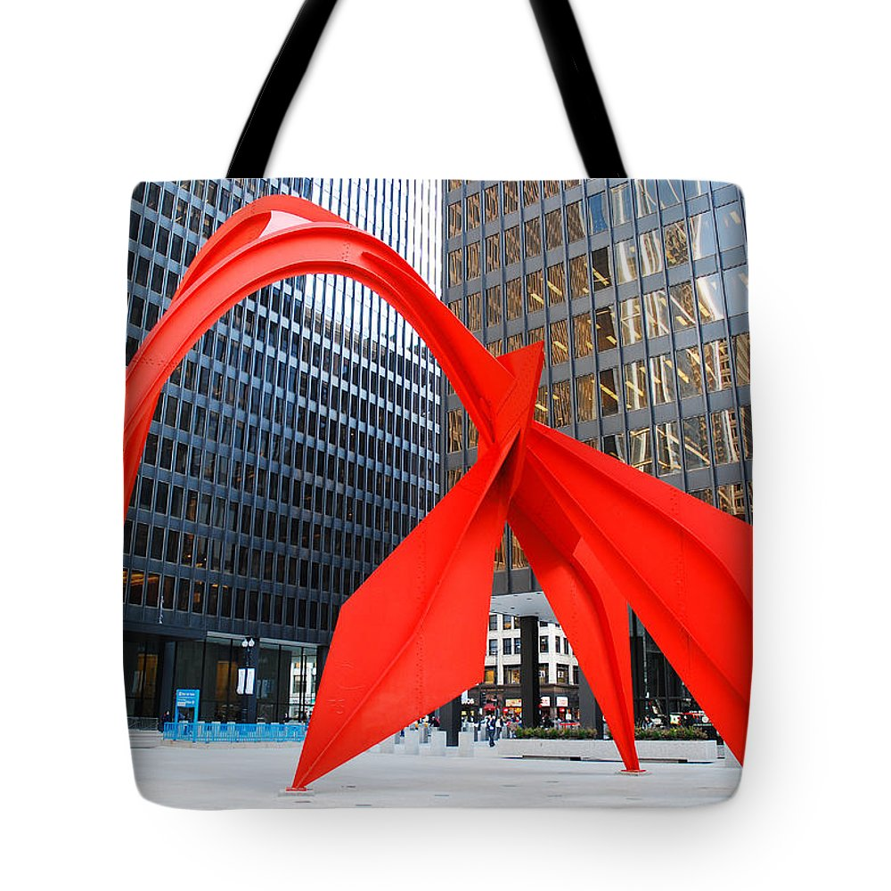 Kirkikis Tote Bag featuring the photograph Calder's Flamingo by James Kirkikis