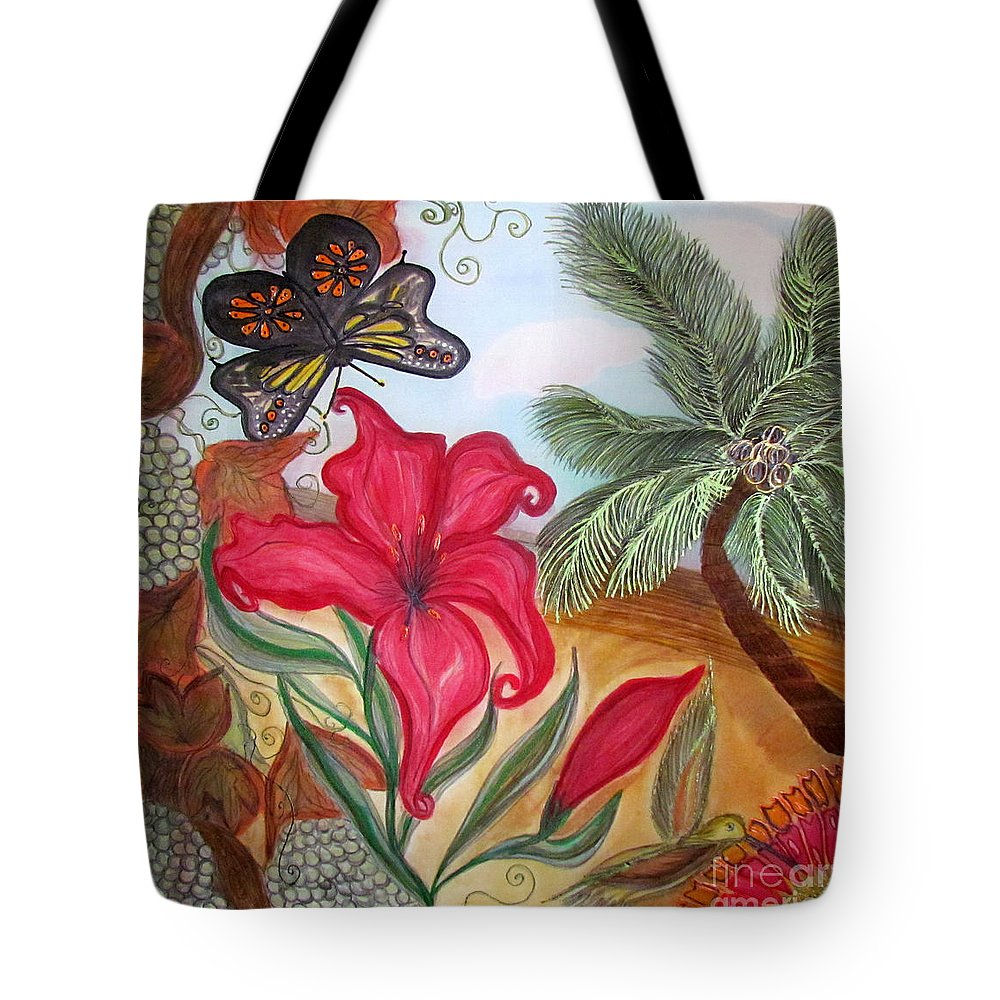 California Tote Bag featuring the painting Cali by Veronica V Jackson
