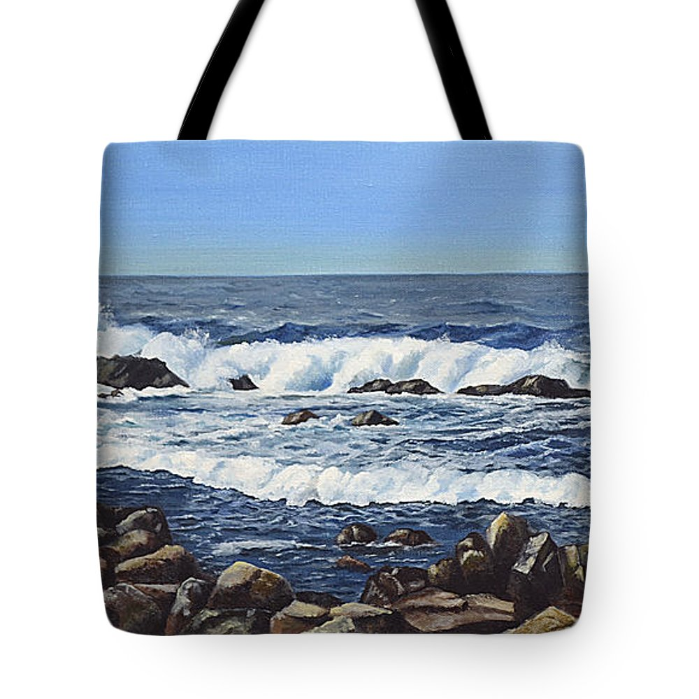 Art Tote Bag featuring the painting California Coastline by Mary Rogers